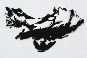 """""""Vagn"""", 1993, etsat fiberstål + akryl, konstverk av Curt Asker."""