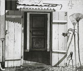 Etsning Tre dörrar av Mikael Wahrby.