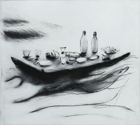Great Picnic - Drypoint by Lisa Andrén.