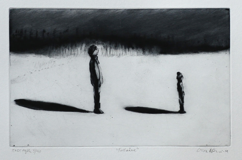 Full Moon - Drypoint by Lisa Andrén.