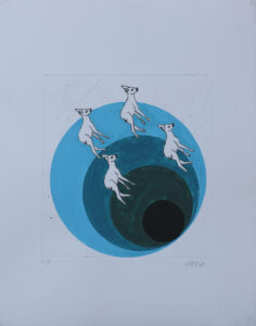 Gone Bambi Blue - Engraving and gouache by Pontus Raud.