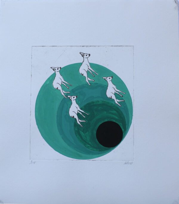 Gone Bambi Gone - Engraving and gouache by Pontus Raud.