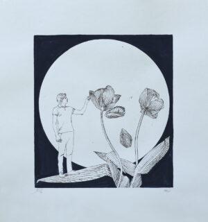 Gravyr och gouache The Last Moon av Pontus Raud.