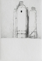 Generator Building - Drypoint by Lars Nyberg.