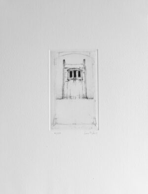 Peculiar Building - Drypoint by Lars Nyberg.