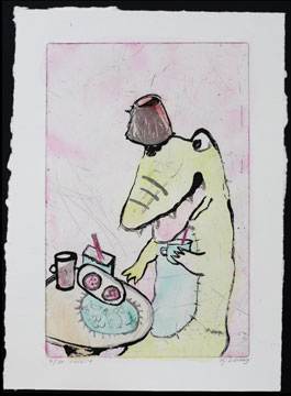 The One Who Grabs a Lot - Hand-colored etching by Katarina Lönnby.