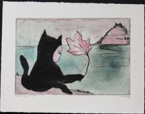 Handkolorerad torrnål Katt med löv av Katarina Lönnby.