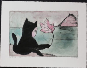 Cat with a Leaf - Hand-colored drypoint by Katarina Lönnby.