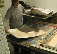 As a professional printer Catarina works efficiently. Another sheet is quickly in place.