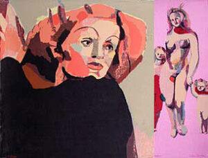 Serigrafierna Marlene och Venus av Cecilia Sikström.