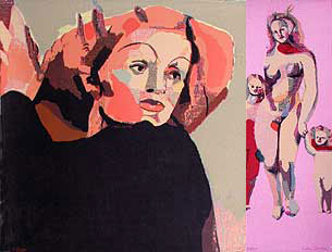 "Two silk-screen prints ""Marlene"" and ""Venus"" by Cecilia Sikström."