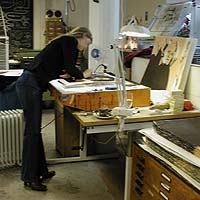 Cecilia Sikström in the process of making the original for stage three, the red colour.