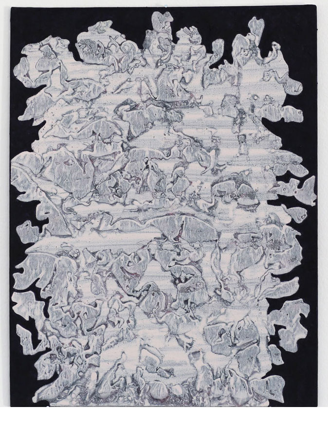 "Kjell Andersons målning ""emAnon"" 2018, akryl på pannå 35x27 cm."