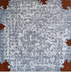 """Kjell Andersons målning """"Upprinnelse"""" 2018, akryl på pannå 107x107cm."""