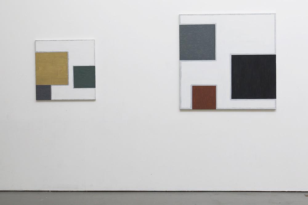 Kjell Strandqvists målningar 1och 2, akryl på smärting.