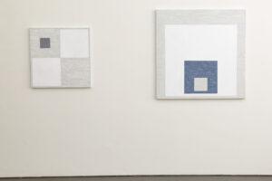 Kjell Strandqvists målningar 18 och 19, akryl på smärting.