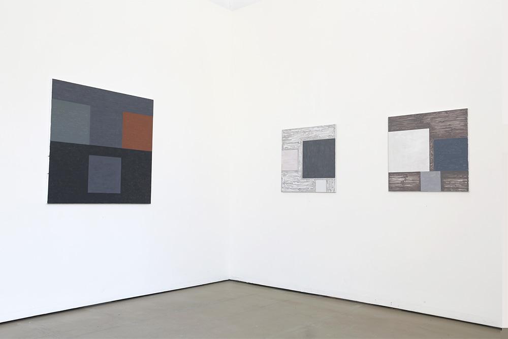 Kjell Strandqvists målningar 20-22, akryl på smärting.