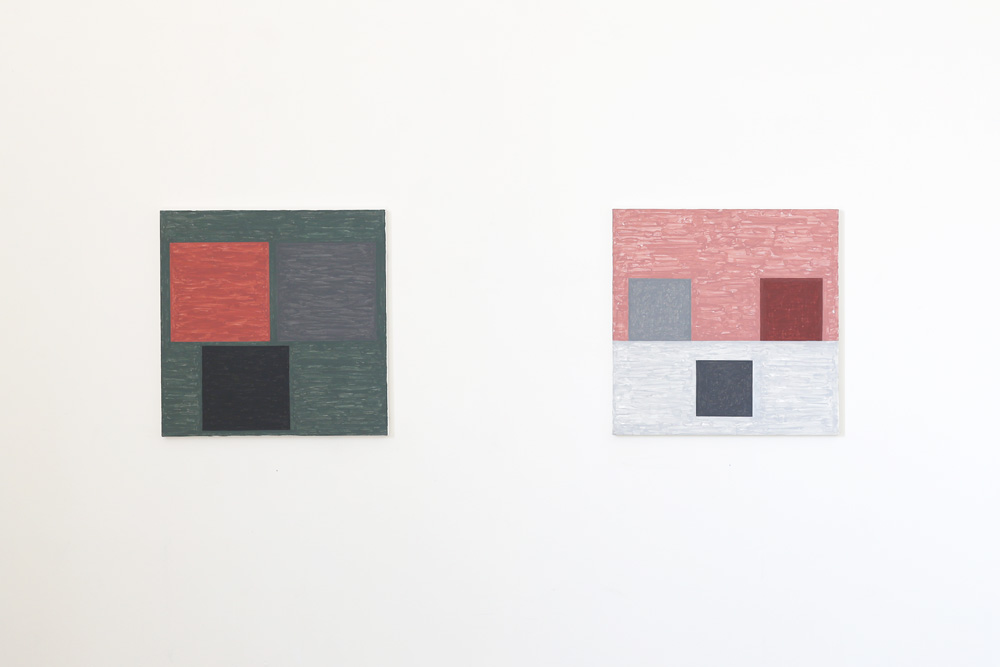 Kjell Strandqvists målningar 26-27, akryl på smärting.