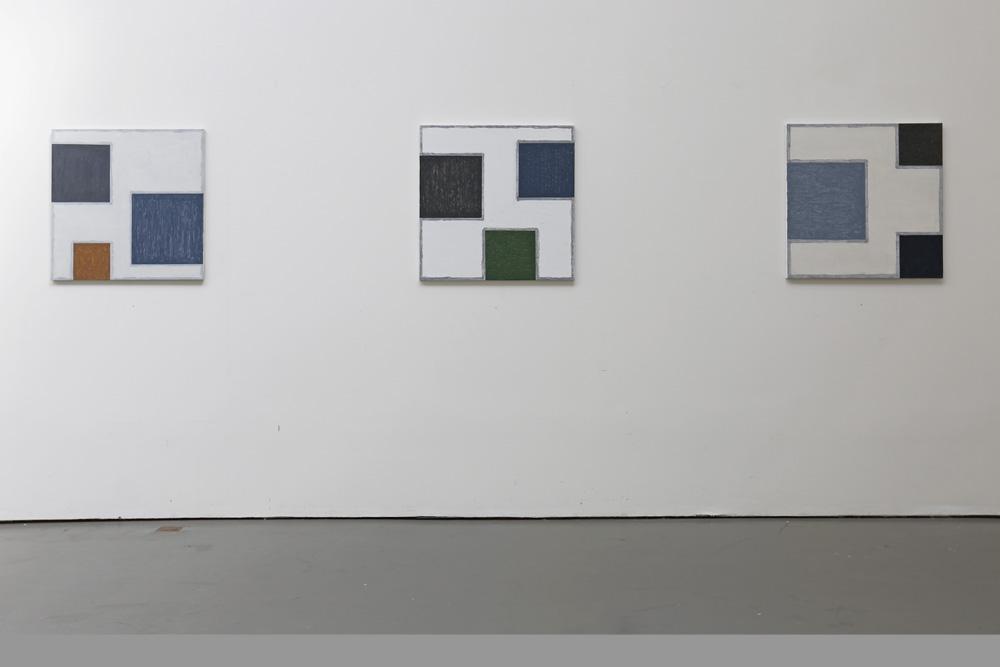 Kjell Strandqvists målningar 3-6, akryl på smärting.