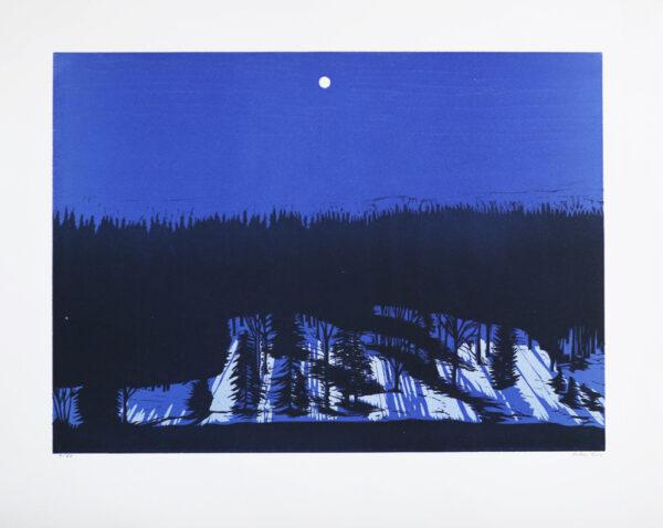 Linoliumsnitt Landskap av Peter Ern.
