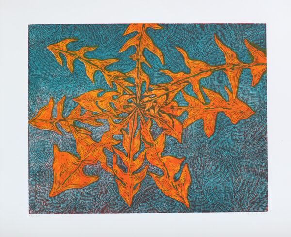 Dandelion - Woodcut by Peter Ern.