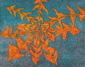 Träsnitt Maskros av Peter Ern.