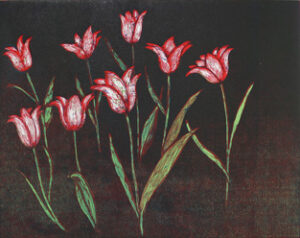 Red Tulips - Woodcut by Peter Ern.