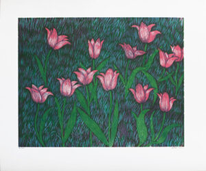 Pink Tulips - Woodcut by Peter Ern.