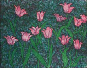 Träsnitt Rosa tulpaner av Peter Ern.