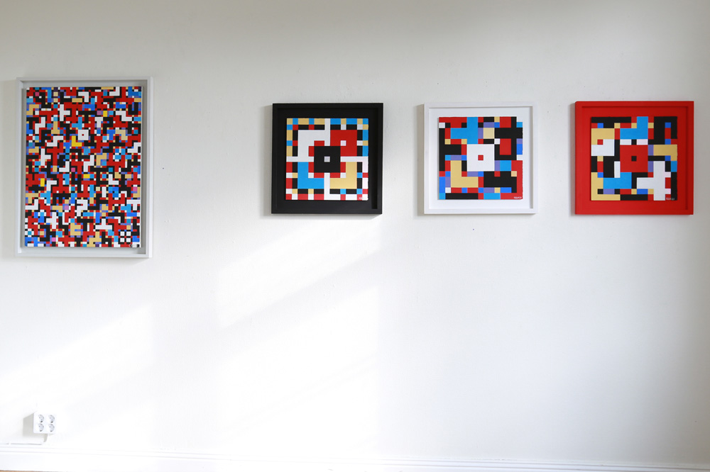 C Göran Karlsson's painting Faith, Hope and Love, Happiness and Joy, Sun and Blue Sky - Tempera on canvas (left) and Triptych Faith, Hope and Love - Tempera on paper (right)