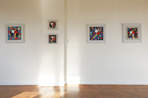 C Göran Karlsson's paintings An Angel in the Room number 20-24 (from right to left).