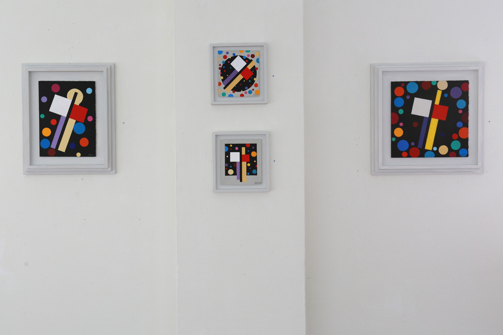 C Göran Karlsson's paintings An Angel in the Room number 13-16 (from right to left).